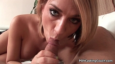 Big tit Amber Ashlee masturbates and sucks cock